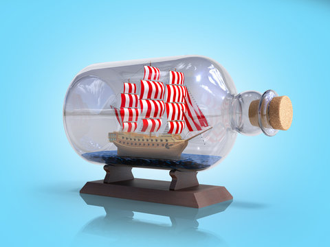 ship in a bottle 3d render on blue gradient