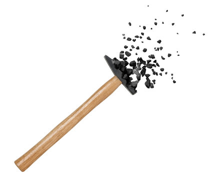3d close-up rendering of hammer starting to break into pieces at its head isolated on white background.