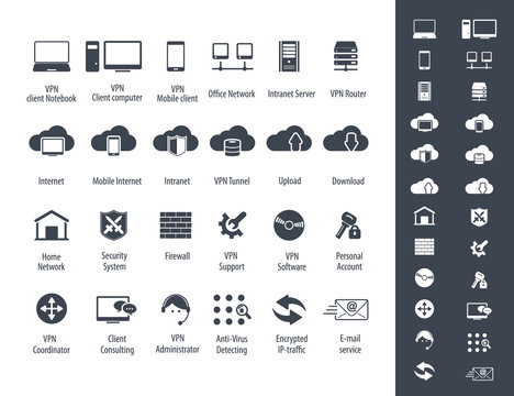 Virtual Private Network vector icons set. 24 VPN editable vector icons for video, mobile apps, Web sites and print projects.
