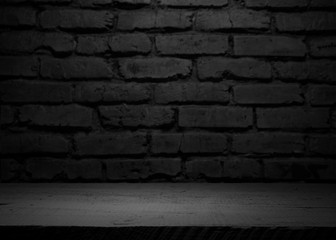 Selected focus empty wooden table and wall texture or old brick wall blur background image. for...