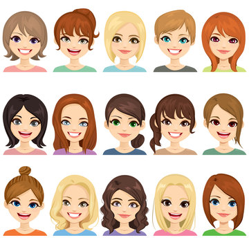 Set of cute girls with different hairstyles and hair color illustration face avatar collection