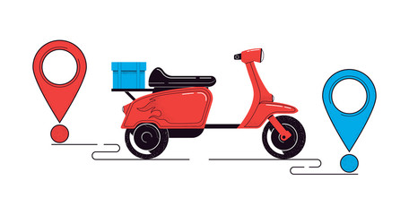 Delivery concept illustration. Scooter with a cargo and destination points isolated on a white background. Food service. Vector illustration