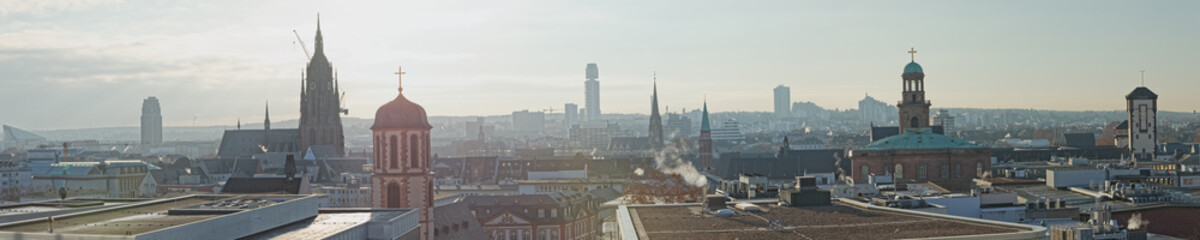 Frankfurt panoramic aerial view in winter morning