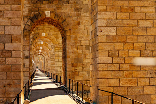 Perspective of Chaumont viaduct sidewalk in France