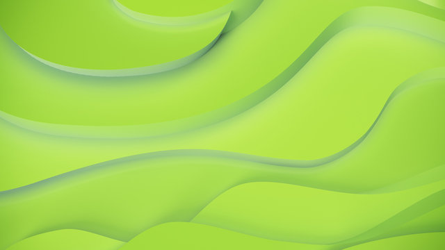 Elegant green relief. Abstract topographical background. Beautiful fluid design. chaotic ribbons create white flow. 3d illustration