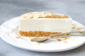 Cheesecake with apple and cream cheese with dried apricots and nuts