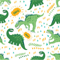 Seamless dinosaur pattern. Green Dino enjoy a walk and a good warm day. For registration of children's clothes, fabrics, cards, books. Style of comics and cartoons