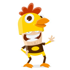 funny cartoon illustration of a man in a chicken costume
