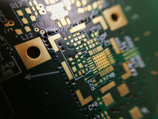 Macro close up of PCB QFN footprint Wall mural
