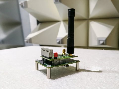 Electronics PCB with wireless communication module in anechoic chamber