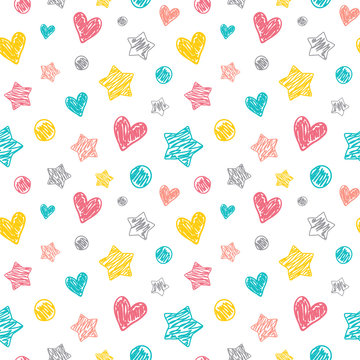 Seamless vector pattern with a doodle style dots, hearts and stars. Great for a baby theme.