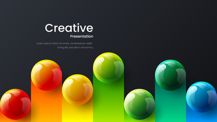 Amazing abstract vector 3D colorful balls illustration template for poster, flyer, magazine, journal, brochure, book cover. Corporate web site landing page minimal background and banner design layout. Wall mural