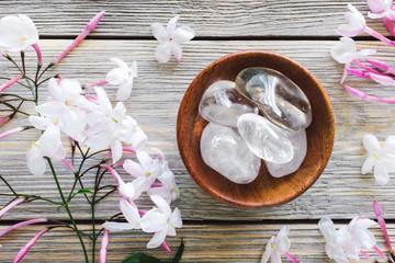 Teak Bowl of Clear Quartz with Jasmine on White Washed Wood