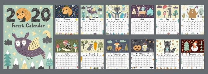 Estores personalizados crianças com sua foto Forest calendar for 2020 year. Printable planner of 12 months with cute animals. Week starts on Sunday, 8,5x11 inches size. Vector illustration
