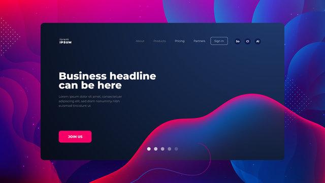Dark Liquid color background design for Landing page site. Fluid gradient shapes composition. Futuristic design posters. Eps10 vector.