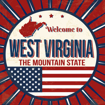 Welcome to West Virginia vintage grunge poster