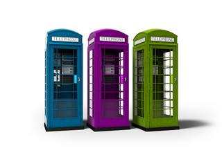 Three telephone booths for talking for money 3d render on white background with shadow