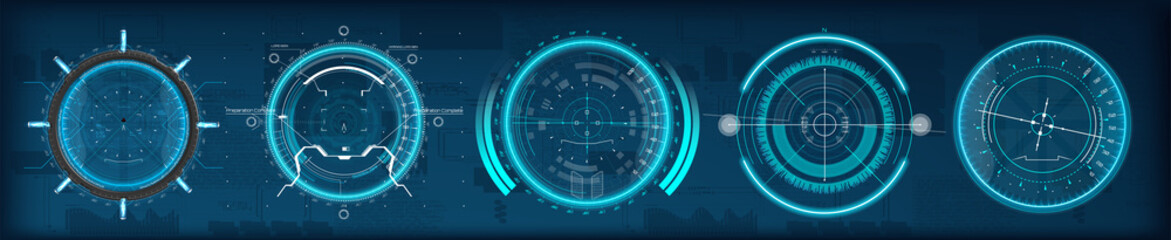 FUI HUD aim of sniper weapon or futuristic game target. Game, Future Control Center Display. Camera viewfinder. Template focusing screen of the camera. Aiming and military, rifle and gun GUI, UI, HUD