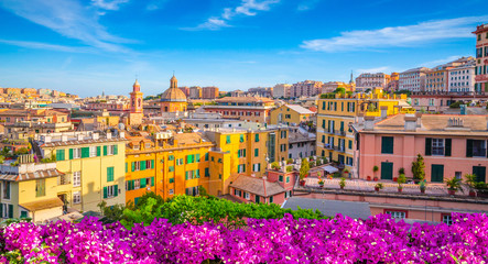 Panoramic view of Genoa in a beautiful summer day, Liguria, Italy