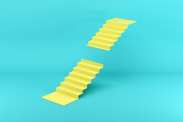 Yellow stairway missing steps in the middle isolated on blue background. Minimal conceptual idea concept. 3D Render.