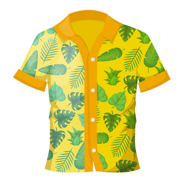 Summer men's colorful shirt with a decorative Hawaiian ornament.
