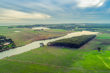 Fotobehang Luchtfoto Aerial view of Hopkins River and grasslands near Warrnambool, Australia