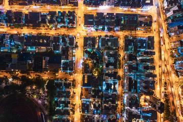 Wall Mural - Aerial view of street at night, Hong Kong