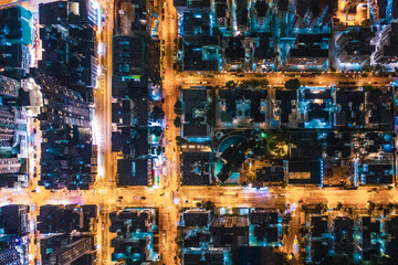 Wall Mural - Aerial view of street at night, Hong Kong