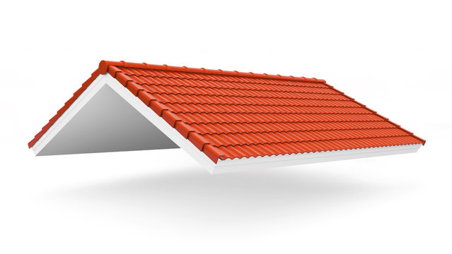 3d roof on the white background. 3d rendering,red roof tile isolated on the white background,Tile with structure on the white background.gable roof