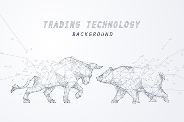 Wire frame bearish and bullish trend, technology trading for stock market