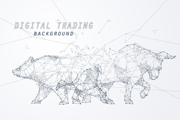 Wire frame bearish and bullish trend, technology trading for stock marke