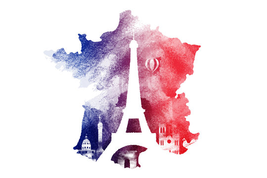 Watercolor of France nation map and landmark symbols