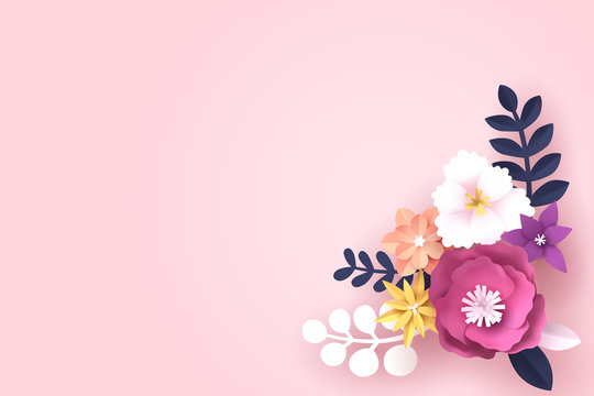 Paper art of Flower with copy space for text