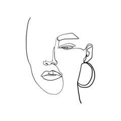 Abstract fashion beauty woman face. One line continuous. Hand drawn glamur logo with female portrait.