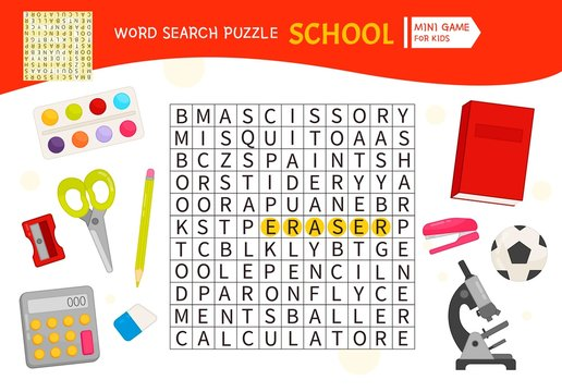 Words puzzle children educational game. Place the letters in right order. Learning vocabulary School.