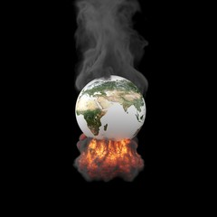 Exploding planet Earth isolated on black background. Elements of this image furnished by NASA. 3D Render.