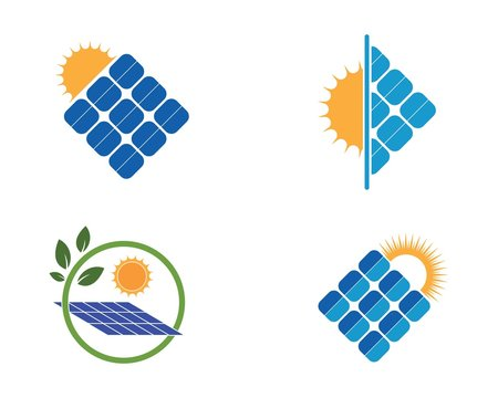 solar panel logo vector icon