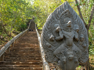 Stairs to the remains of the Wat Banan Buddhist temple near Battambang, Cambodia.