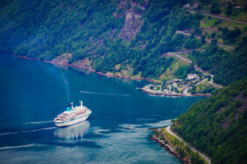 Fjord Geirangerfjord with cruise ship, Norway.