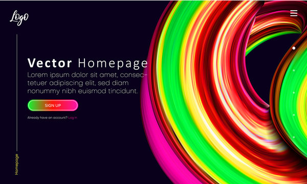 Black web homepage template with buttons and abstract colorful brushstroke design.