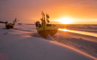 Sunset on the beach in Dębki, the Polish coast of the Baltic Sea