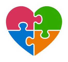 Heart puzzle with 4 pieces or autism awareness flat vector color icon for apps and websites