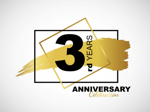 3rd golden anniversary icon celebration with frame and hand drawn ink brush gold ribbon. Vector template element for your 3 birthday party poster greeting card on white background and black number.