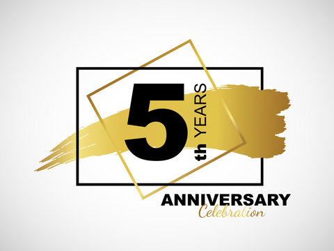 5th golden anniversary icon celebration with frame and hand drawn ink brush gold ribbon. Vector template element for your 5 birthday party poster greeting card on white background and black number.