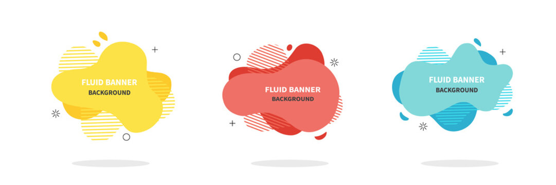 Bannners set. Modern Vector design. Flat geometric liquid shapes