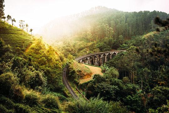 Nine-arch bridge in Sri Lanka. Beautiful railway bridge in Asia. Nature of Sri Lanka. Tea plantations in Asia. Colonial architecture
