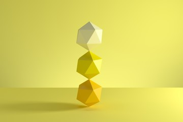 Stack of GeoSphere in yellow monotone isolated on yellow background. Minimal concept idea. 3D Render. Wall mural