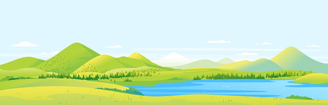 Big panorama of fields and meadows with spruce forest around mountain lake in valley, summer countryside with green hills and river, summer sunny glades illustration