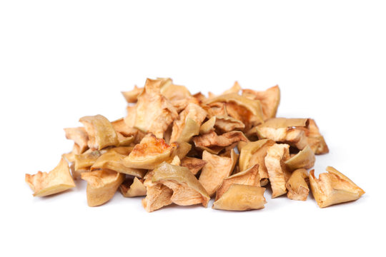 Heap of dried apple slices
