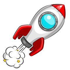 Flying white rocket on white background